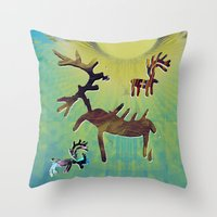 reindeer Throw Pillows featuring reindeer by donphil