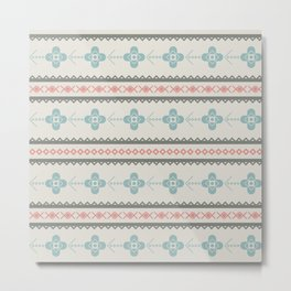 Retro seamless pattern with triangles, floral and decorative objects Metal Print