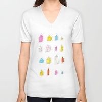 transparent V-neck T-shirts featuring Transparent Houses by Judy Kaufmann