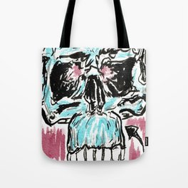 Fitted: A color ink skull on watercolor paper Tote Bag