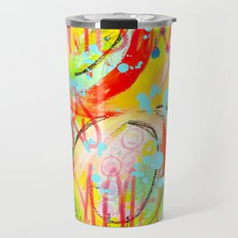 Bold red and yellow digital abstract graffiti design Travel Mug