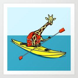 Giraffe Sea Kayaking Art Print