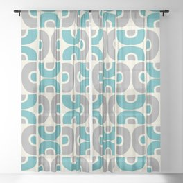 Funky Mid Century Modern Pattern 554 Gray and Turquoise Sheer Curtain