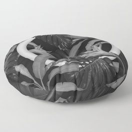 White Circle in Black Forest Floor Pillow