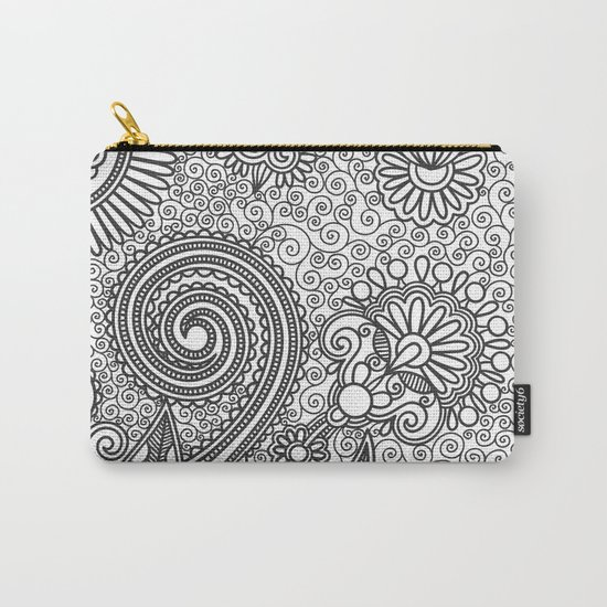 Floral B&W Carry-All Pouch