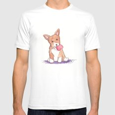 Corgi Love White MEDIUM Mens Fitted Tee