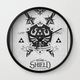 Legend of Zelda Hylian Shield Foundry logo Iconic Geek Line Artly Wall Clock