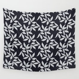Organic Leaf Pattern Navy Wall Tapestry