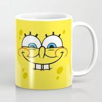 spongebob Mugs featuring Spongebob Naughty Face by Cute Cute Cute