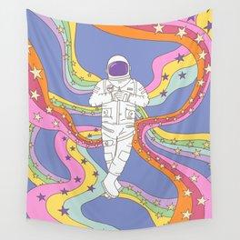 retro boho rainbow astronaut  Wall Tapestry