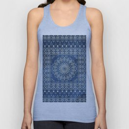 Old Bookshop Magic Mandala in Blue Unisex Tank Top