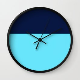 Two Blues Minimalist Color Block in Bright Turquoise and Navy Blue Wall Clock