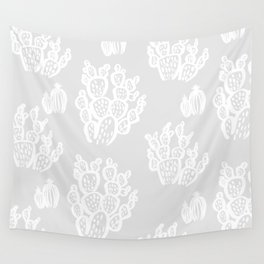 Prickly Pear Grey Cacti Wall Tapestry