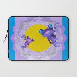 Whimsy Tree Frog Lavender, Gold & Blue Boho Mandala Laptop Sleeve