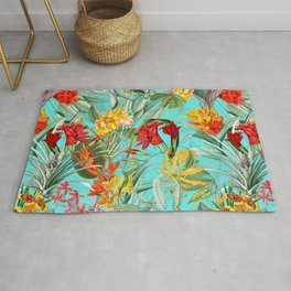 Vintage & Shabby Chic - Colorful Tropical Blue Garden Rug