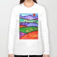 north carolina Long Sleeve T-shirts featuring Landscape - Boone, North Carolina by Karen Hickerson