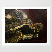 tortoise Art Prints featuring Tortoise by Minx Paints