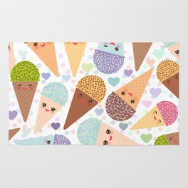 Kawaii funny Ice cream waffle cone, with pink cheeks and winking eyes Rug