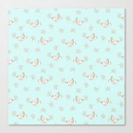Christmas birds - Bird pattern on turquoise background Canvas Print