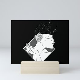 Losing Her Mind Simple Woman Smiling In Monochrome With Clasped Hands Cartoon Style Mini Art Print