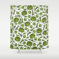 vegetables Shower Curtains featuring Green Vegetables by Alisa Galitsyna