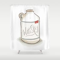whiskey Shower Curtains featuring Whiskey Illustration  by Old South Inkery
