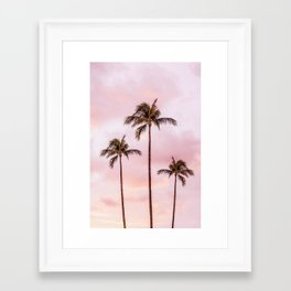 Palm Tree Photography Landscape Sunset Unicorn Clouds Blush Millennial Pink Framed Art Print