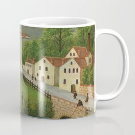 Pastoral landscape with stream, fisherman and stroller Coffee Mug