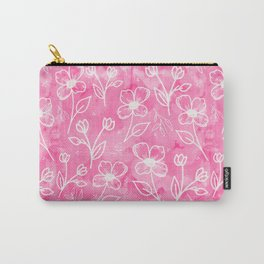 11 Small Flowers on Pink Watercolor Carry-All Pouch