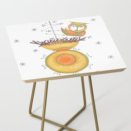 MidCentury Modern Whimsical Owl & Satellite Nest Side Table