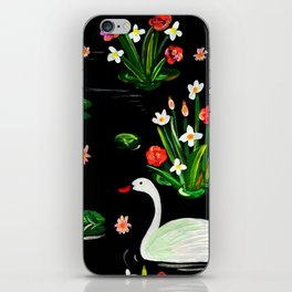Slavic Folk Art Inspired Acrylic and Gouache Two Swans Painting, Perfect Gift For The Holidays iPhone Skin