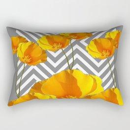 YELLOW CALIFORNIA POPPIES MODERN GREY PATTERNS Rectangular Pillow