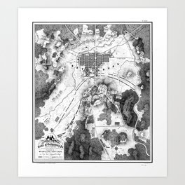 Vintage Map of The Gettysburg Battlefield (1863)BW Art Print
