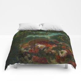 "Eugène Delacroix ""Basket of Flowers"" Comforters"