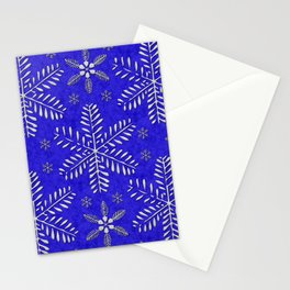 DP044-10 Silver snowflakes on blue Stationery Cards
