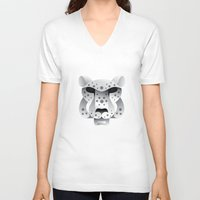 snow leopard V-neck T-shirts featuring Snow leopard by MyArti