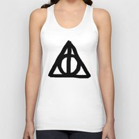 deathly hallows Tank Tops featuring Deathly Hallows on Parchment by Hannah Ison