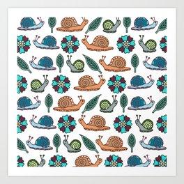 Garden Snails | Snails Pattern Art Print