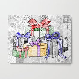 Coloured Christmas Presents Metal Print