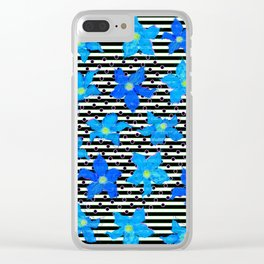 Blue Watercolor Flowers and Stripes Pattern Clear iPhone Case