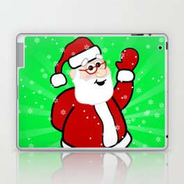 Christmas Santa in Red Suit Green Background Snow Laptop & iPad Skin