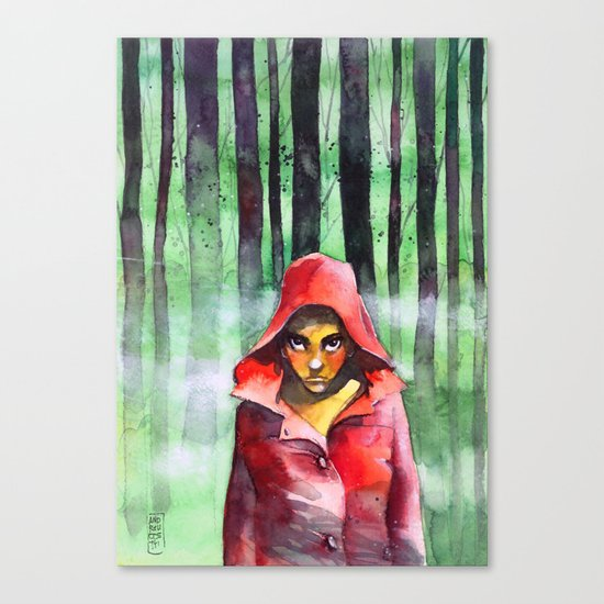 Where is the wolf? (Just another Little red riding hood) Canvas Print