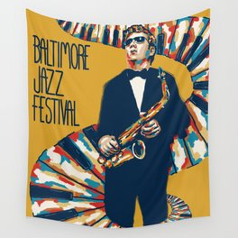 Jazz Festival Poster Wall Tapestry