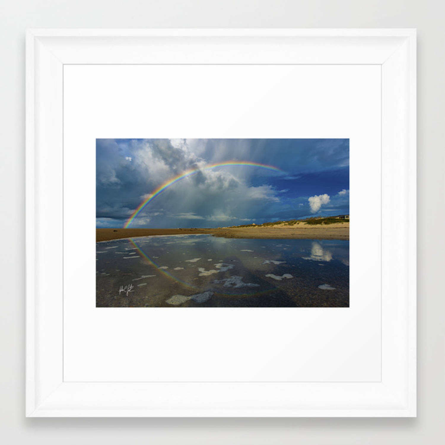 43f44ac3aa4 Atlantic Beach NC Rainbow Framed Art Print by johnlackphotography | Society6
