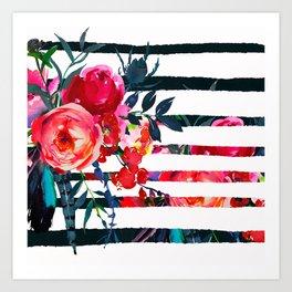 Bohemian pink orange blue black watercolor stripes floral Art Print