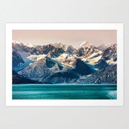 Scenic sunset Alaskan nature glacier landscape wilderness Art Print