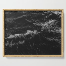 Dark Ocean in Black and. White Serving Tray