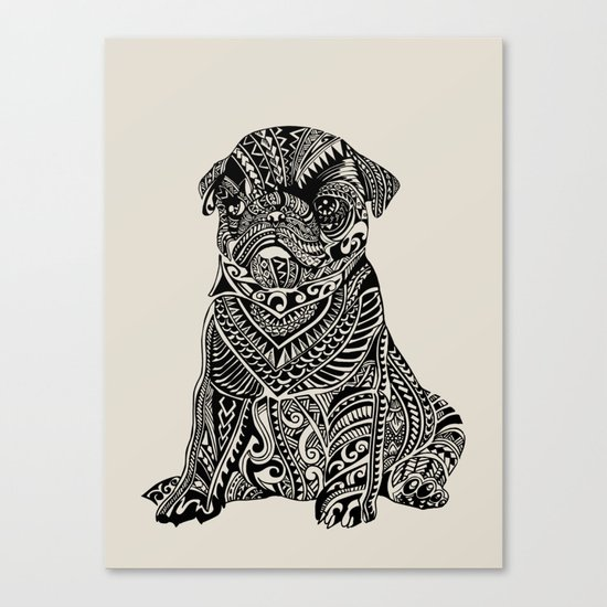 Polynesian Baby Pug Canvas Print