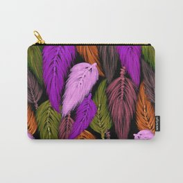 Watercolor Macrame Feather Toss in Black + Boho Purple Orange Carry-All Pouch