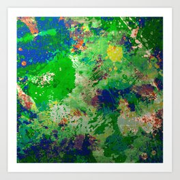 Spring Time Splatter - Abstract blue and green platter painting Art Print